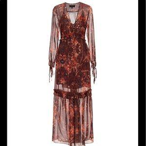 Intermix Red Isidora printed maxi dress size small